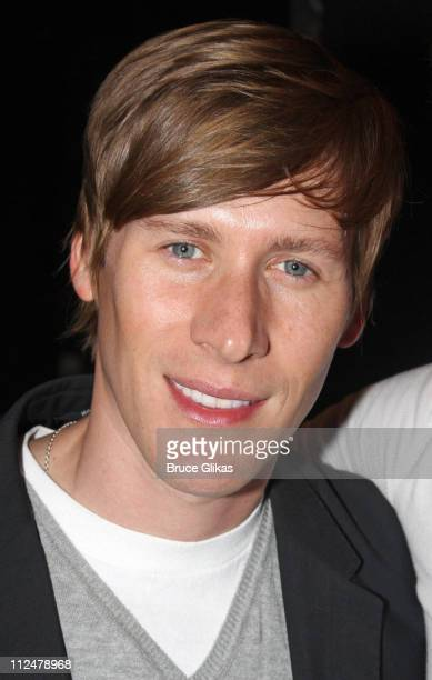 Dustin Lance Black poses at 'Hair' on Broadway at the Al Hirschfeld Theatre on June 23 2009 in New York City