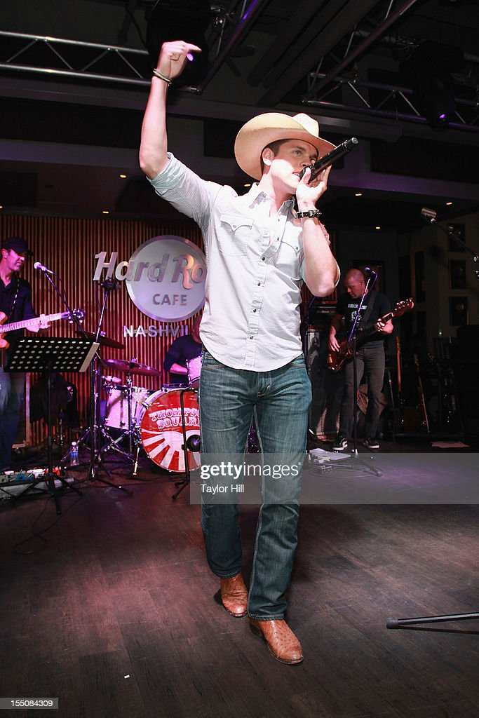 Dustin Lynch performs during the BBR Music Group 3rd annual Pre-CMA party at the Hard Rock Cafe Nashville on October 31, 2012 in Nashville, Tennessee.