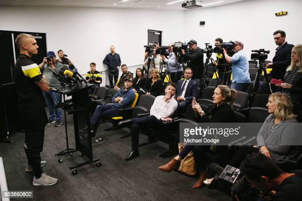 Dustin Martin a winner of the Brownlow medal last night ahead of the Richmond Tigers AFL training session at Punt Road Oval on September 26 2017 in...