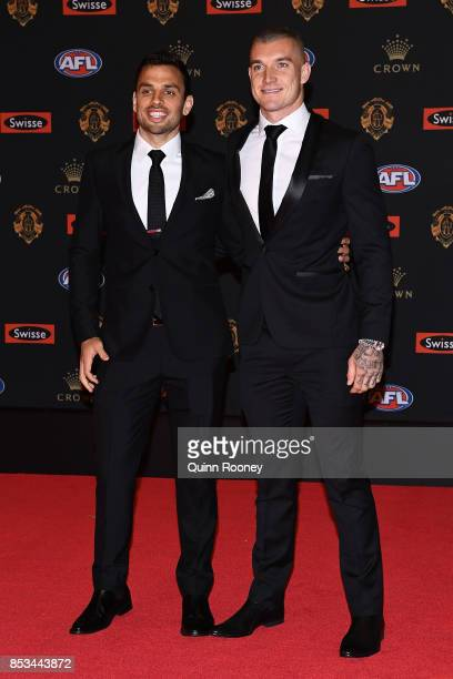Dustin Martin and Sam Lloyd arrive ahead of the 2017 Brownlow Medal at Crown Entertainment Complex on September 25 2017 in Melbourne Australia
