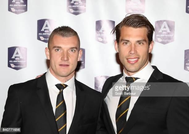 Dustin Martin of the Tigers and Alex Rance of the Tigers arrive during the AFL All Australian team announcement at the Palais Theatre on August 30...