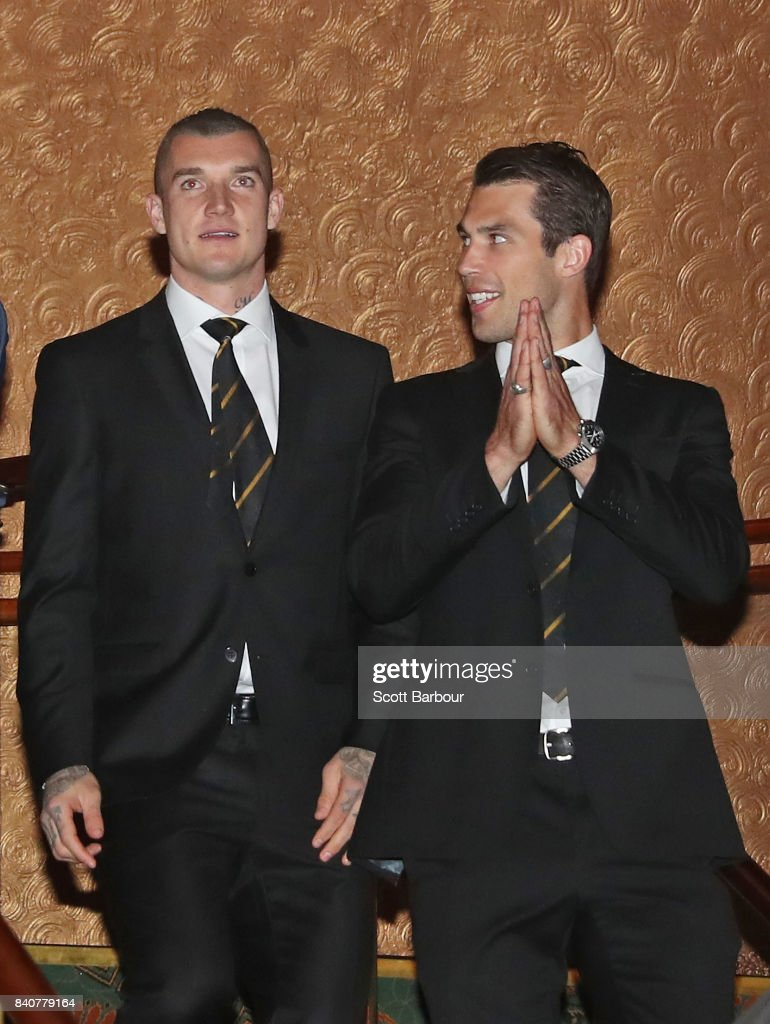 Dustin Martin of the Tigers and Alex Rance of the Tigers talk during the AFL All Australian team announcement at the Palais Theatre on August 30, 2017 in Melbourne, Australia.