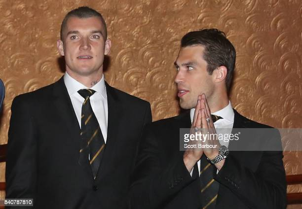 Dustin Martin of the Tigers and Alex Rance of the Tigers talk during the AFL All Australian team announcement at the Palais Theatre on August 30 2017...