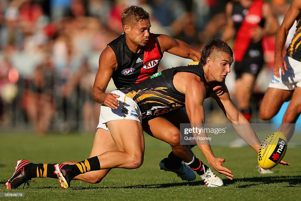 Dustin Martin of the Tigers and Leroy Jetta of the Bombers contest for the ball during the round two AFL NAB Cup match between the Essendon Bombers and the Richmond Tigers at Wangaratta Showgrounds on March 2, 2013 in Wangaratta, Australia.