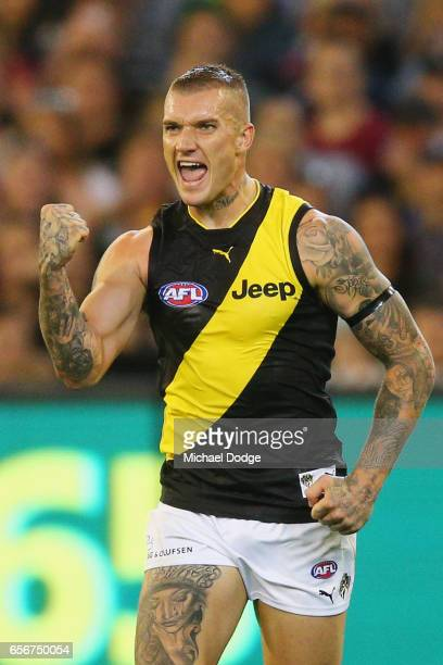 Dustin Martin of the Tigers celebrates a goal during the round one AFL match between the Carlton Blues and the Richmond Tigers at Melbourne Cricket...