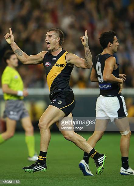Dustin Martin of the Tigers celebrates a goal during the round two AFL match between the Richmond Tigers and the Carlton Blues at Melbourne Cricket...
