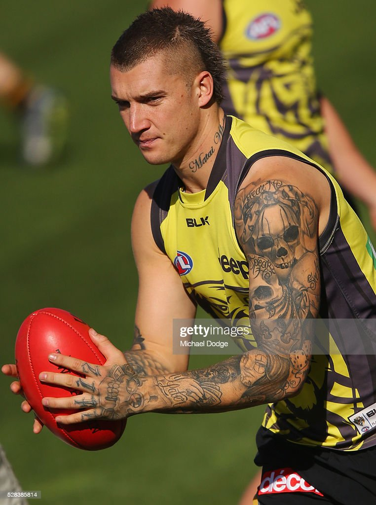 Dustin Martin of the Tigers gathers the ball during a Richmond Tigers AFL training session at Punt Road Oval on May 5, 2016 in Melbourne, Australia.