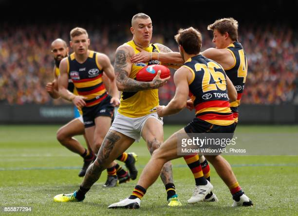 Dustin Martin of the Tigers in action during the 2017 Toyota AFL Grand Final match between the Adelaide Crows and the Richmond Tigers at the...