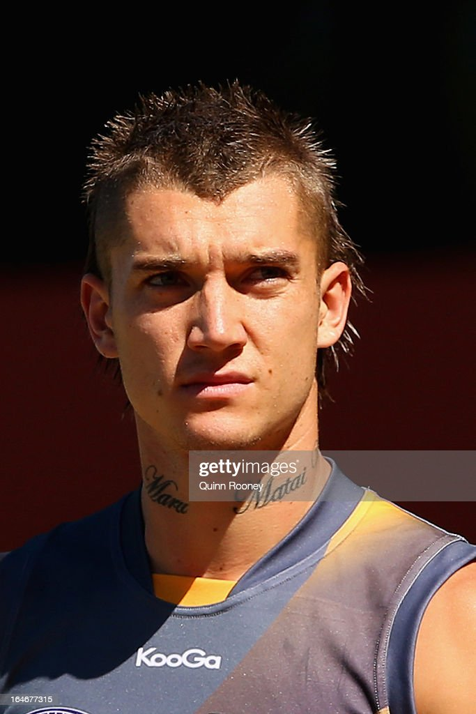 Dustin Martin of the Tigers looks on during a Richmond Tigers AFL training session at ME Bank Centre on March 26, 2013 in Melbourne, Australia.