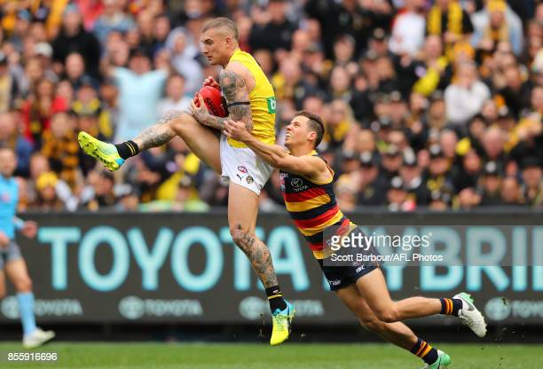 Dustin Martin of the Tigers marks the ball and kicks a goal during the 2017 AFL Grand Final match between the Adelaide Crows and the Richmond Tigers...
