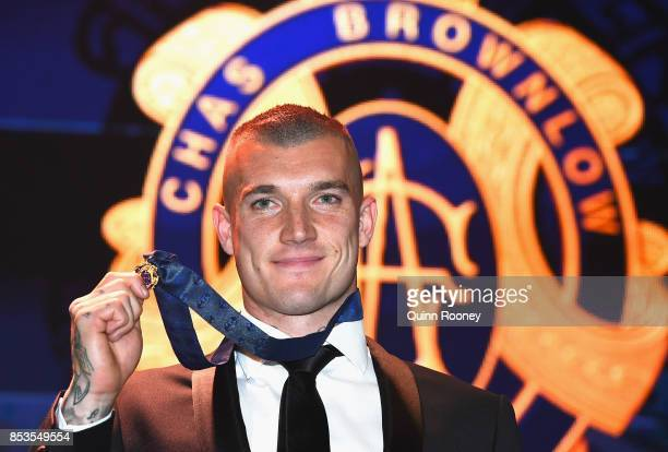 Dustin Martin of the Tigers poses after winning the 2017 Brownlow Medal at the 2017 Brownlow Medal at Crown Entertainment Complex on September 25...