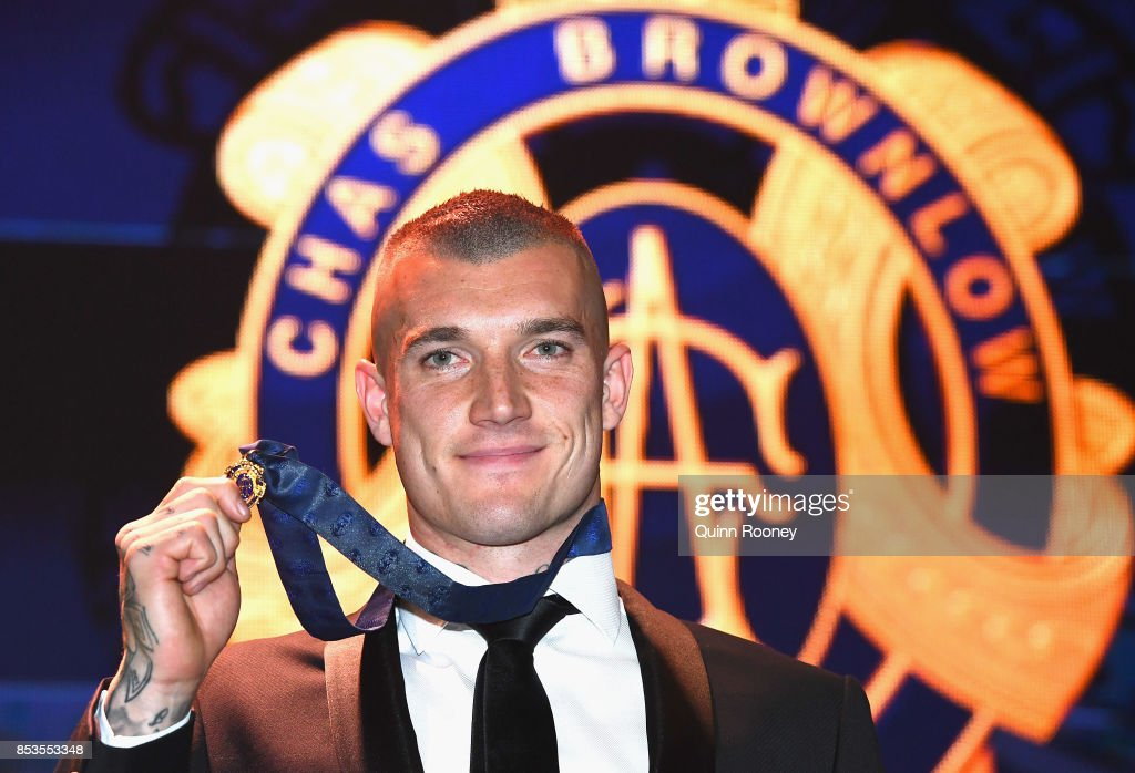 Dustin Martin of the Tigers poses after winning the 2017 Brownlow Medal at the 2017 Brownlow Medal at Crown Entertainment Complex on September 25, 2017 in Melbourne, Australia.