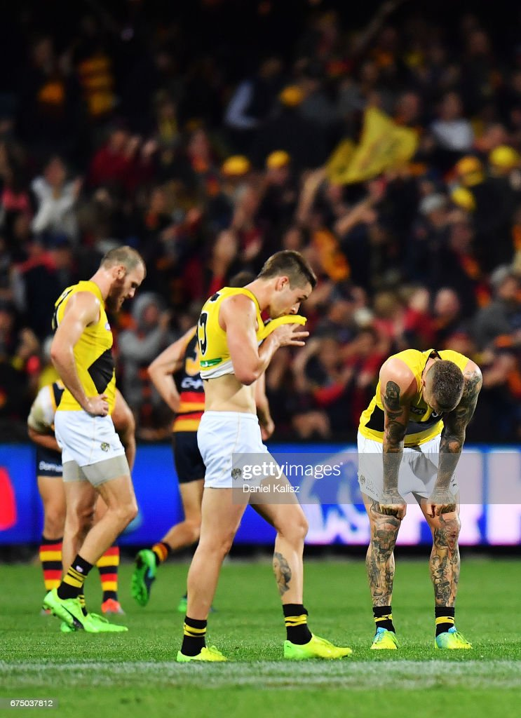 Dustin Martin of the Tigers reacts after the final siren during the round six AFL match between the Adelaide Crows and the Richmond Tigers at Adelaide Oval on April 30, 2017 in Adelaide, Australia.