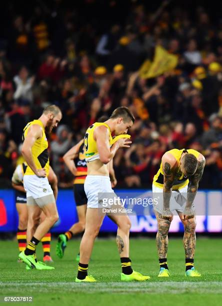 Dustin Martin of the Tigers reacts after the final siren during the round six AFL match between the Adelaide Crows and the Richmond Tigers at...