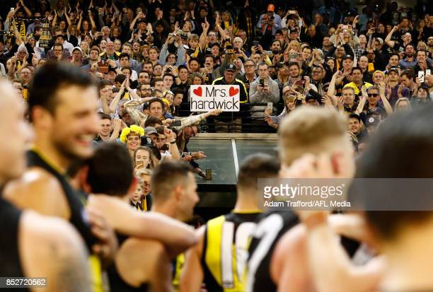 Dustin Martin of the Tigers sings the team song during the 2017 AFL Second Preliminary Final match between the Richmond Tigers and the GWS Giants at...