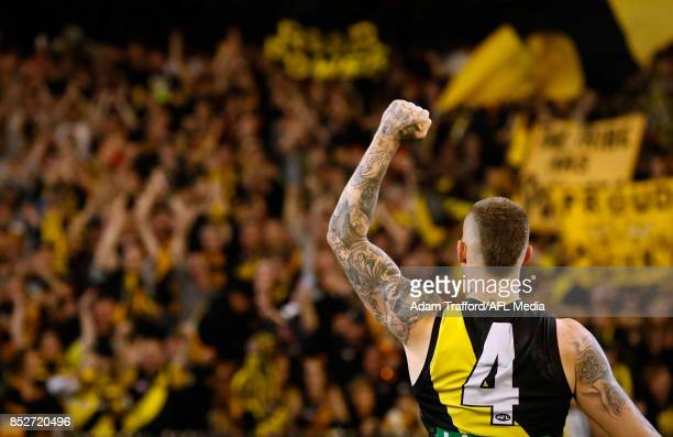 Dustin Martin of the Tigers thanks fans during the 2017 AFL Second Preliminary Final match between the Richmond Tigers and the GWS Giants at the...
