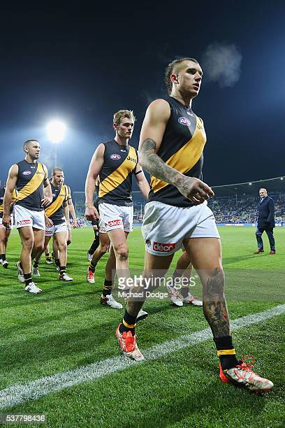Dustin Martin of the Tigers walks off after defeat during the round 11 AFL match between the North Melbourne Kangaroos and the Richmond Tigers at...