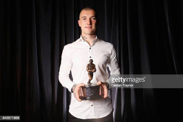 Dustin Martin of the Tigers wins AFL Players' MVP Awards at Shed 14 Central Pier on September 12 2017 in Melbourne Australia