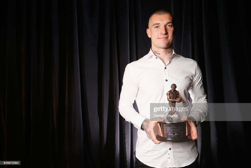 Dustin Martin of the Tigers wins AFL Players' MVP Awards at Shed 14 Central Pier on September 12, 2017 in Melbourne, Australia.