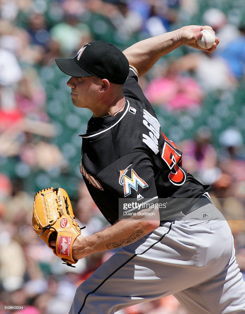 <a gi-track='captionPersonalityLinkClicked' href=/galleries/search?phrase=Dustin+McGowan&family=editorial&specificpeople=809187 ng-click='$event.stopPropagation()'>Dustin McGowan</a> #33 of the Miami Marlins pitches against the Detroit Tigers during the fifth inning at Comerica Park on June 29, 2016 in Detroit, Michigan. McGowan gave up three home runs in the Tigers 10-3 win.