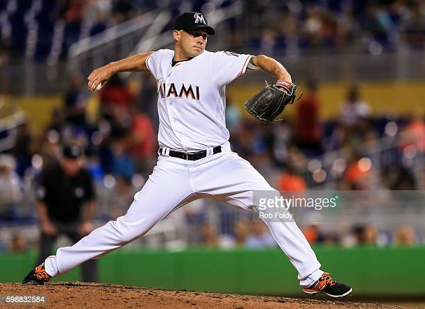 Dustin McGowan of the Miami Marlins pitches during the game against the San Diego Padres at Marlins Park on August 26 2016 in Miami Florida