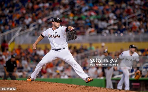 Dustin McGowan of the Miami Marlins pitches during the game against the Atlanta Braves at Marlins Park on October 1 2017 in Miami Florida