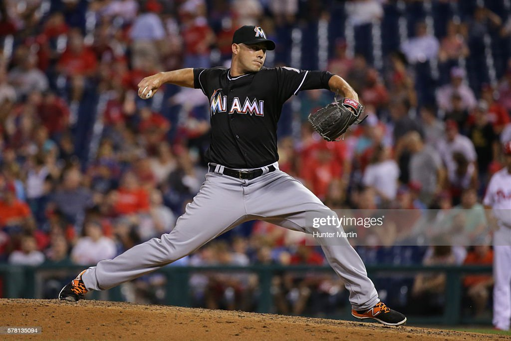Dustin McGowan #33 of the Miami Marlins throws a pitch in the seventh inning during a game against the Philadelphia Phillies at Citizens Bank Park on July 20, 2016 in Philadelphia, Pennsylvania. The Phillies won 4-1.