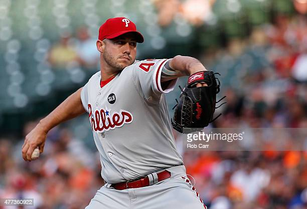Dustin McGowan of the Philadelphia Phillies pitches to a Baltimore Orioles batter in the first inning at Oriole Park at Camden Yards on June 16 2015...