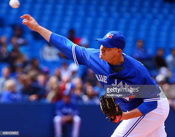 Dustin McGowan of the Toronto Blue Jays throws a pitch against the Tampa Bay Rays during MLB action at the Rogers Centre September 14 2014 in Toronto...