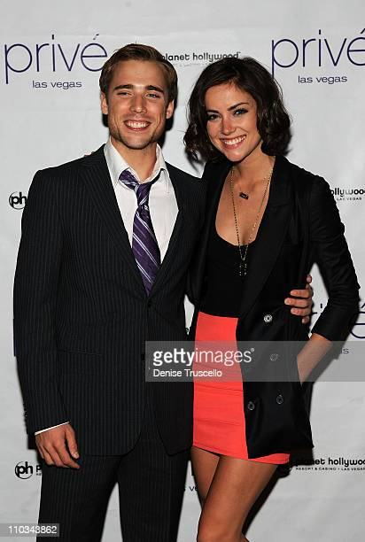 Dustin Milligan and Jessica Stroup arrive at Prive Las Vegas at Planet Hollywood Resort Casino on July 18 2009 in Las Vegas Nevada