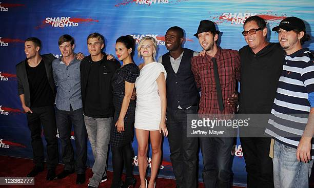 Dustin Milligan Chris Carmack Chris Zylka Alyssa Diaz Sara Paxton Sinqua Walls Joel David Moore Mike Fleiss and Will Hayes arrive at the 'Shark Night...