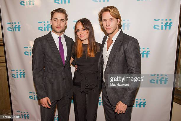 Dustin Milligan Emily Meade and Luke Bracey attend the premiere of 'Me Him Her' during the Seattle International Film Festival at Harvard Exit...