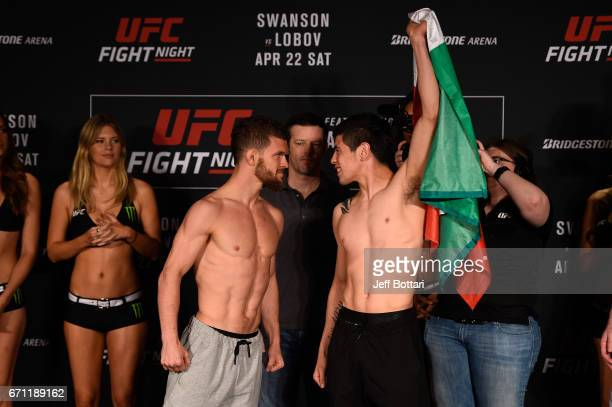 Dustin Ortiz and Brandon Moreno of Mexico face off during the UFC Fight Night weighin at the Sheraton Music City Hotel on April 21 2017 in Nashville...