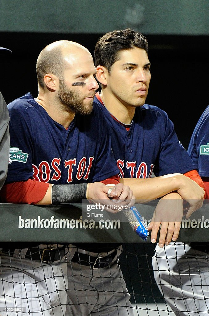 Dustin Pedroia #15 and Jacoby Ellsbury #2 of the Boston Red Sox watch the game against the Baltimore Orioles at Oriole Park at Camden Yards on September 29, 2012 in Baltimore, Maryland.