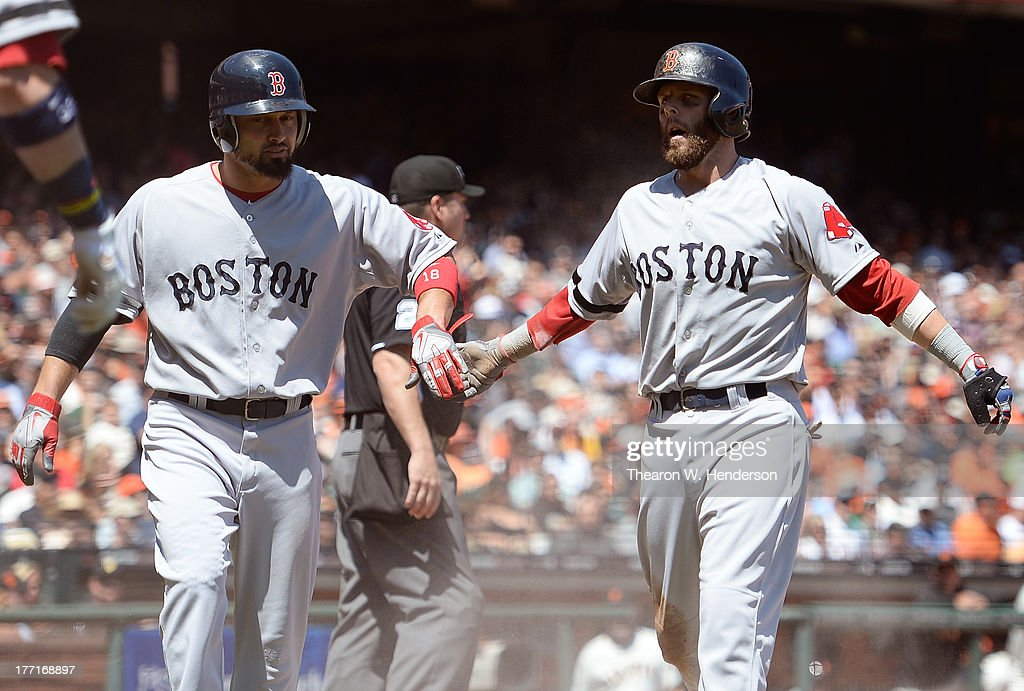 <a gi-track='captionPersonalityLinkClicked' href=/galleries/search?phrase=Dustin+Pedroia&family=editorial&specificpeople=836339 ng-click='$event.stopPropagation()'>Dustin Pedroia</a> #15 and <a gi-track='captionPersonalityLinkClicked' href=/galleries/search?phrase=Shane+Victorino&family=editorial&specificpeople=576251 ng-click='$event.stopPropagation()'>Shane Victorino</a> #18 of the Boston Red Sox congratulate each other after they scored on a two-run RBI single from Jonny Gomes #5 in the third inning against the San Francisco Giants at AT&T Park on August 21, 2013 in San Francisco, California.