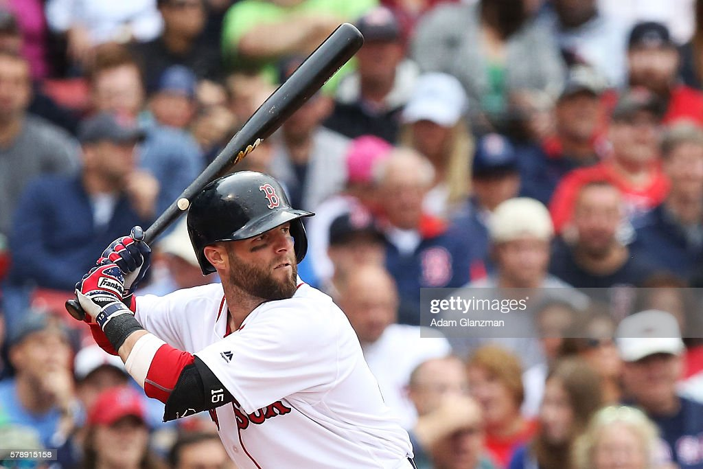 Dustin Pedroia of the Boston Red Sox bats base during the game against the Tampa Bay Rays at Fenway Park on July 9 2016 in Boston Massachusetts