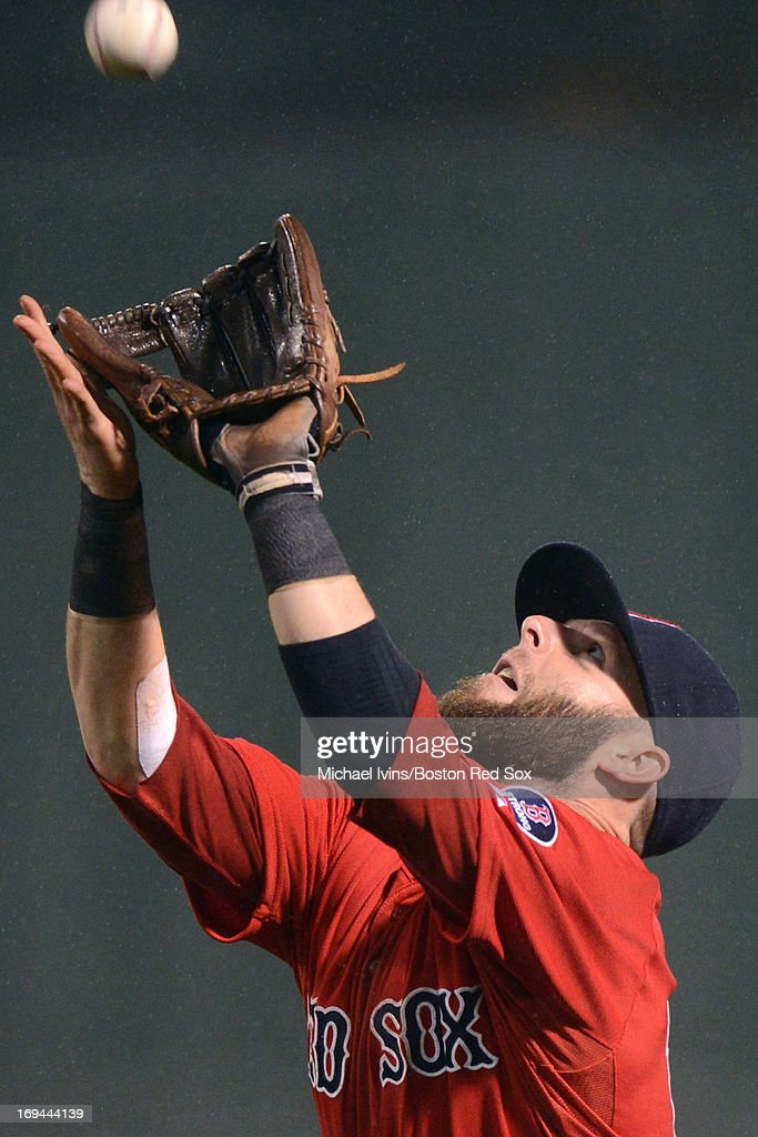 <a gi-track='captionPersonalityLinkClicked' href=/galleries/search?phrase=Dustin+Pedroia&family=editorial&specificpeople=836339 ng-click='$event.stopPropagation()'>Dustin Pedroia</a> #15 of the Boston Red Sox catches a fly ball against the Cleveland Indians in the eighth inning on May 24, 2013 at Fenway Park in Boston, Massachusetts.