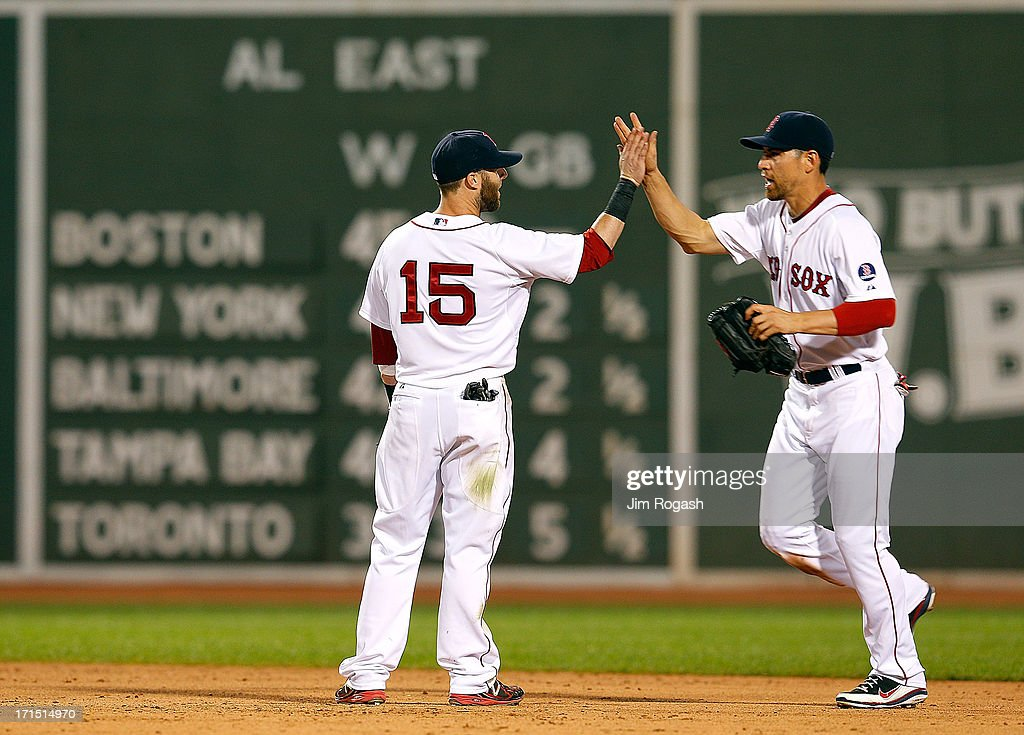 <a gi-track='captionPersonalityLinkClicked' href=/galleries/search?phrase=Dustin+Pedroia&family=editorial&specificpeople=836339 ng-click='$event.stopPropagation()'>Dustin Pedroia</a> #15 of the Boston Red Sox celebrates a 11-4 win over the Colorado Rockies with teammate <a gi-track='captionPersonalityLinkClicked' href=/galleries/search?phrase=Jacoby+Ellsbury&family=editorial&specificpeople=4172583 ng-click='$event.stopPropagation()'>Jacoby Ellsbury</a> #2 of the Boston Red Sox at Fenway Park on June 25, 2013 in Boston, Massachusetts. Pedroia knocked in four runs and Ellsbury scored three.