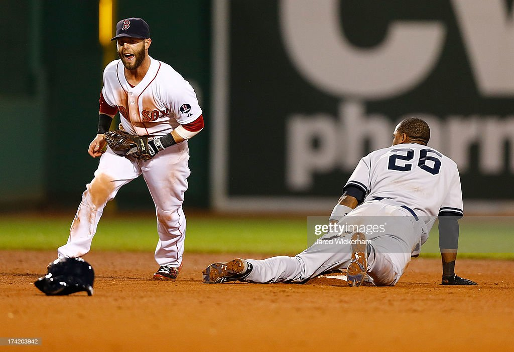<a gi-track='captionPersonalityLinkClicked' href=/galleries/search?phrase=Dustin+Pedroia&family=editorial&specificpeople=836339 ng-click='$event.stopPropagation()'>Dustin Pedroia</a> #15 of the Boston Red Sox celebrates after tagging out <a gi-track='captionPersonalityLinkClicked' href=/galleries/search?phrase=Eduardo+Nunez&family=editorial&specificpeople=4900197 ng-click='$event.stopPropagation()'>Eduardo Nunez</a> #26 of the New York Yankees in the 11th inning during the game on July 22, 2013 at Fenway Park in Boston, Massachusetts.