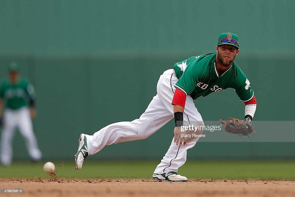 Dustin Pedroia #15 of the Boston Red Sox dives for a ball in the fourth inning of a game against the St. Louis Cardinals at JetBlue Park at Fenway South on March 17, 2014 in Fort Myers, Florida. Boston won the game 10-5.