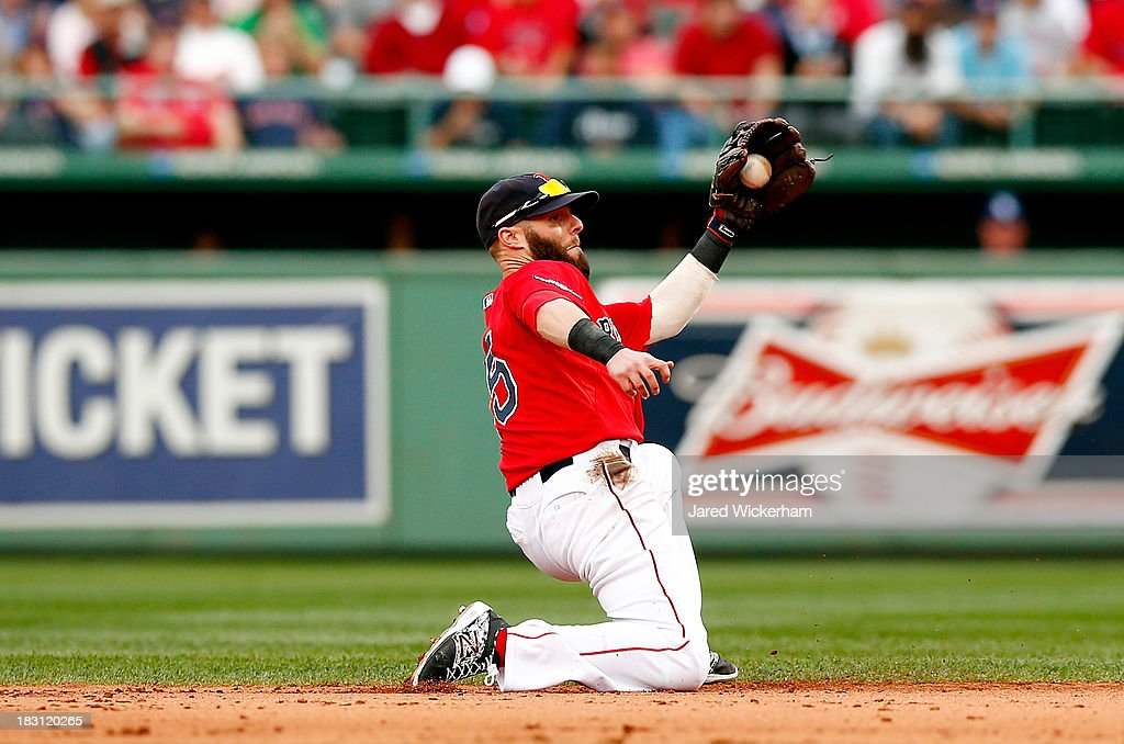 Dustin Pedroia #15 of the Boston Red Sox fields a ball hit by James Loney #21 of the Tampa Bay Rays during Game One of the American League Division Series at Fenway Park on October 4, 2013 in Boston, Massachusetts.