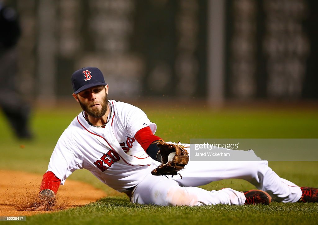 <a gi-track='captionPersonalityLinkClicked' href=/galleries/search?phrase=Dustin+Pedroia&family=editorial&specificpeople=836339 ng-click='$event.stopPropagation()'>Dustin Pedroia</a> #15 of the Boston Red Sox fields a ground ball in the fifth inning against the New York Yankees during the game at Fenway Park on April 24, 2014 in Boston, Massachusetts.