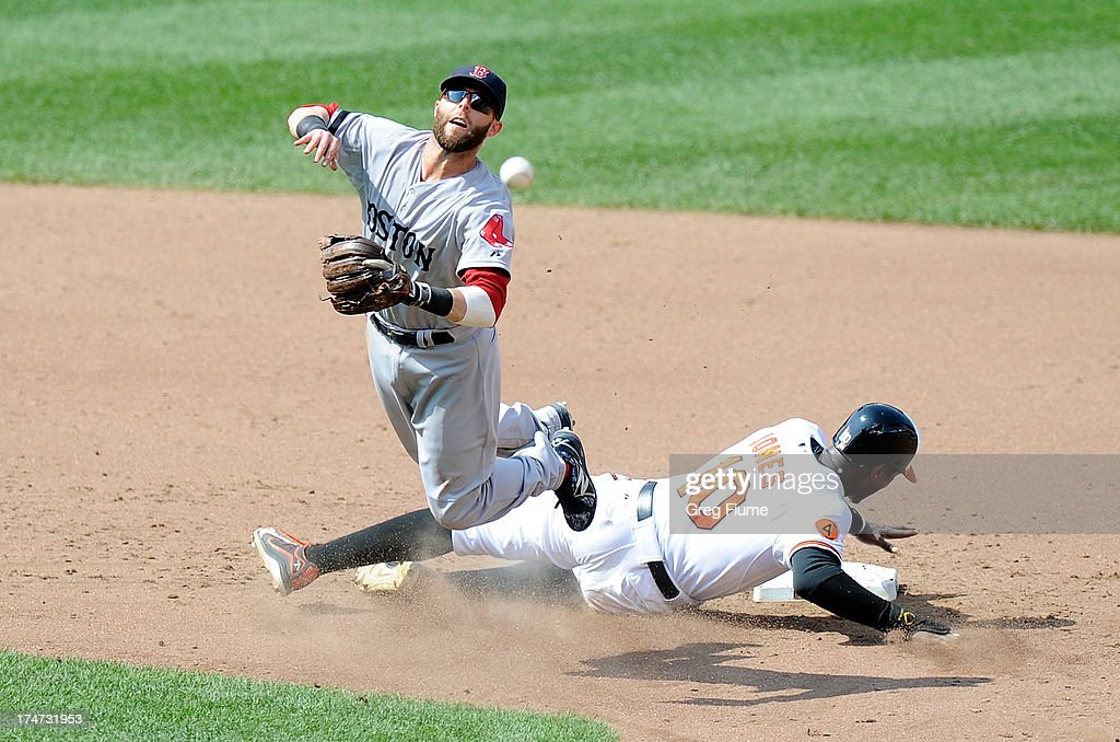 <a gi-track='captionPersonalityLinkClicked' href=/galleries/search?phrase=Dustin+Pedroia&family=editorial&specificpeople=836339 ng-click='$event.stopPropagation()'>Dustin Pedroia</a> #15 of the Boston Red Sox forces out Adam Jones #10 of the Baltimore Orioles to start a double play in the sixth inning at Oriole Park at Camden Yards on July 28, 2013 in Baltimore, Maryland.