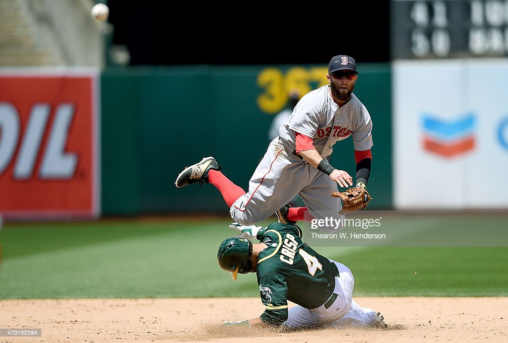 <a gi-track='captionPersonalityLinkClicked' href=/galleries/search?phrase=Dustin+Pedroia&family=editorial&specificpeople=836339 ng-click='$event.stopPropagation()'>Dustin Pedroia</a> #15 of the Boston Red Sox gets his throw off to complete the double-play over the top of <a gi-track='captionPersonalityLinkClicked' href=/galleries/search?phrase=Coco+Crisp&family=editorial&specificpeople=206376 ng-click='$event.stopPropagation()'>Coco Crisp</a> #4 of the Oakland Athletics in the bottom of the fifth inning at O.co Coliseum on May 13, 2015 in Oakland, California.