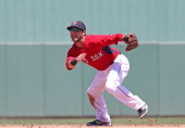Dustin Pedroia of the Boston Red Sox gets ready to field the ball during the third inning of the game against the Baltimore Orioles at JetBlue Park...