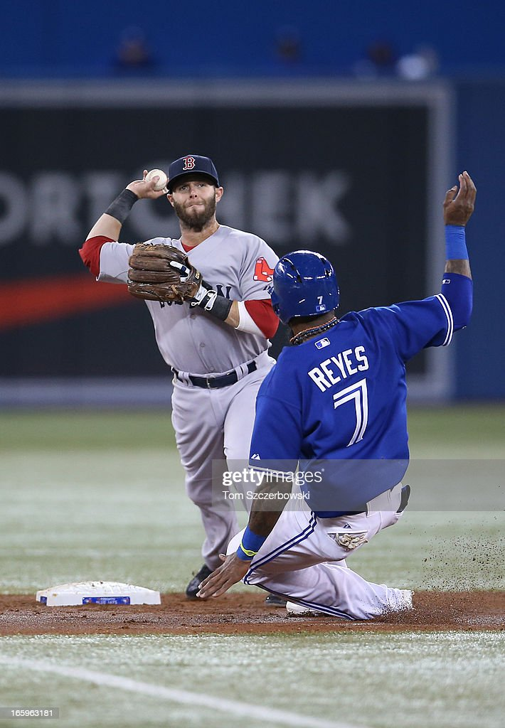 <a gi-track='captionPersonalityLinkClicked' href=/galleries/search?phrase=Dustin+Pedroia&family=editorial&specificpeople=836339 ng-click='$event.stopPropagation()'>Dustin Pedroia</a> #15 of the Boston Red Sox gets the force out at second base in the third inning as Jose Reyes #7 of the Toronto Blue Jays slides during MLB game action on April 7, 2013 at Rogers Centre in Toronto, Ontario, Canada.
