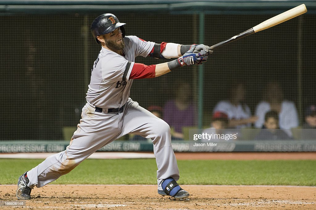 <a gi-track='captionPersonalityLinkClicked' href=/galleries/search?phrase=Dustin+Pedroia&family=editorial&specificpeople=836339 ng-click='$event.stopPropagation()'>Dustin Pedroia</a> #15 of the Boston Red Sox hits an RBI single in the fifth inning against the Cleveland Indians at Progressive Field on April 18, 2013 in Cleveland, Ohio.