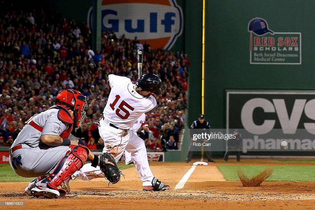 <a gi-track='captionPersonalityLinkClicked' href=/galleries/search?phrase=Dustin+Pedroia&family=editorial&specificpeople=836339 ng-click='$event.stopPropagation()'>Dustin Pedroia</a> #15 of the Boston Red Sox hits an RBI single in the second inning against the St. Louis Cardinals during Game One of the 2013 World Series at Fenway Park on October 23, 2013 in Boston, Massachusetts.