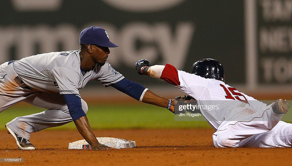<a gi-track='captionPersonalityLinkClicked' href=/galleries/search?phrase=Dustin+Pedroia&family=editorial&specificpeople=836339 ng-click='$event.stopPropagation()'>Dustin Pedroia</a> #15 of the Boston Red Sox is tagged out by <a gi-track='captionPersonalityLinkClicked' href=/galleries/search?phrase=Pedro+Ciriaco&family=editorial&specificpeople=5718591 ng-click='$event.stopPropagation()'>Pedro Ciriaco</a> #3 of the San Diego Padres after over sliding second base in a steal attempt in the 5th inning at Fenway Park on July 2, 2013 in Boston, Massachusetts.