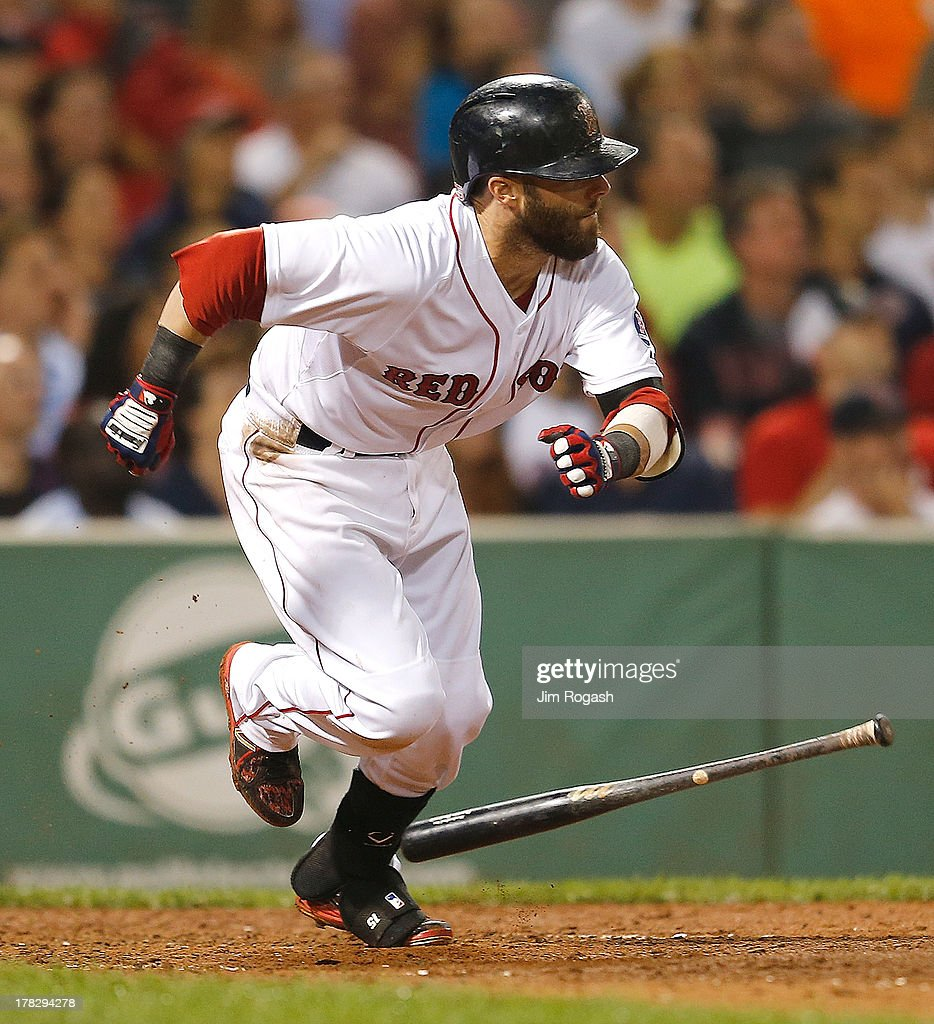<a gi-track='captionPersonalityLinkClicked' href=/galleries/search?phrase=Dustin+Pedroia&family=editorial&specificpeople=836339 ng-click='$event.stopPropagation()'>Dustin Pedroia</a> #15 of the Boston Red Sox knocks in Jacoby Ellsbury #2 in the 7th inning against the Baltimore Orioles at Fenway Park on August 28, 2013 in Boston, Massachusetts.